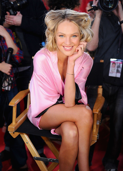 Victoria's Secret model Candice Swanepoel backstage before the 2010