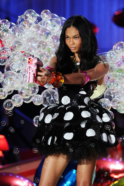 Model Chanel Iman walks the runway during the 2010 Victoria's Secret Fashion Show at the Lexington Avenue Armory on November 10, 2010 in New York City.