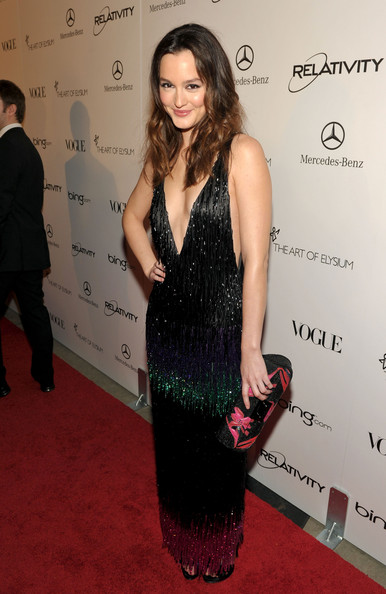 "Actress Leighton Meester arrives at the 2011 Art Of Elysium ""Heaven"" Gala held at the California Science Center on January 15, 2011 in Los Angeles, California."