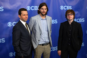 (L-R) Actors Jon Cryer, Ashton Kutcher and Angus T. Jones attend the 2011 CBS Upfront at The Tent at Lincoln Center on May 18, 2011 in New York City.