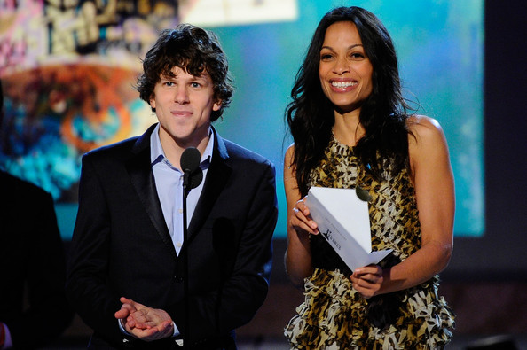 Actors Jesse Eisenberg and Rosario Dawson present onstage during the 2011 Film Independent Spirit Awards at Santa Monica Beach on February 26, 2011 in Santa Monica, California.