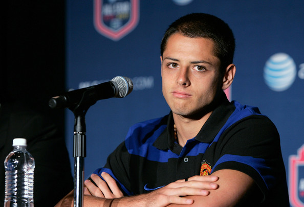 "Javier ""Chicharito"" Hernandez of Manchester United speaks at the 2011 MLS All-Star Game press conference at All-Star HUB on July 25, 2011 in New York City. The MLS All-Star game will be played on Wednesday July 27, 2011 at Red Bulls Arena in Harrison, New Jersey."