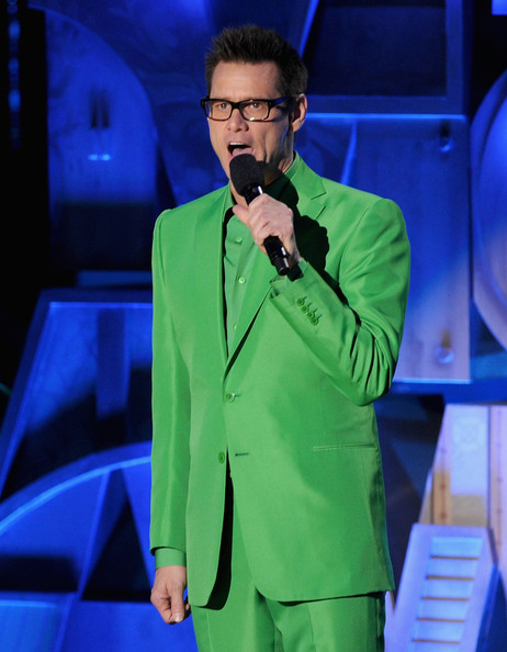 Actor Jim Carrey speaks onstage during the 2011 MTV Movie Awards at Universal Studios' Gibson Amphitheatre on June 5, 2011 in Universal City, California.