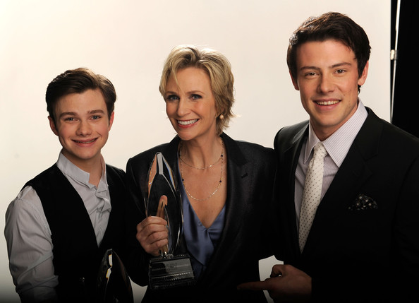 "(L-R) Actors Chris Colfer, Jane Lynch and Cory Monteith, winners of the Favorite TV Comedy award for ""Glee"" pose for a portrait during the 2011 People's Choice Awards at Nokia Theatre L.A. Live on January 5, 2011 in Los Angeles, California."