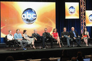 (-R) Actress Kaitlyn Dever, actor Christoph Sanders, actress Alexandra Krosney, director John Pasquin, actor/executive producer Tim Allen, actress Nancy Travis, creator/executive producer Jack Burditt, actor Hector Elizondo and actress Molly Ephraim of the television show 'Last Man Standing' speak during the Disney ABC Television Group portion of the 2011 Summer Television Critics Association Press Tour held at The Beverly Hilton Hotel on August 8, 2011 in Beverly Hills, California.