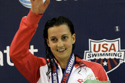 Rebecca Soni celebrtates after winning the women's 200m breaststroke finals during the 2011 AT&T Winter National Championships at the Georgia Tech Aquatic Center on December 3, 2011 in Atlanta, Georgia.