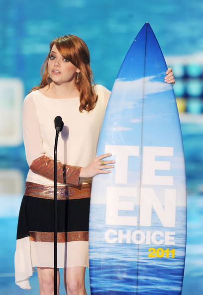 Actress Emma Stone speaks onstage during the 2011 Teen Choice Awards held at the Gibson Amphitheatre on August 7, 2011 in Universal City, California.