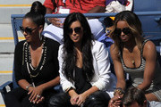(L-R) LaLa Vazquez, Kim Kardashian and Singer Ciara attend Day Eleven of the 2011 US Open at the USTA Billie Jean King National Tennis Center on September 8, 2011 in the Flushing neighborhood of the Queens borough of New York City.
