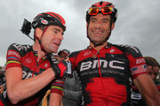 George Hincapie (R) of the USA riding for BMC Racing celebrates his victory with teammate Cadel Evans (L) of Australia in stage two of the 2011 USA Pro Cycling Challenge from Gunnison to Aspen on August 24, 2011 in Aspen, Colorado.