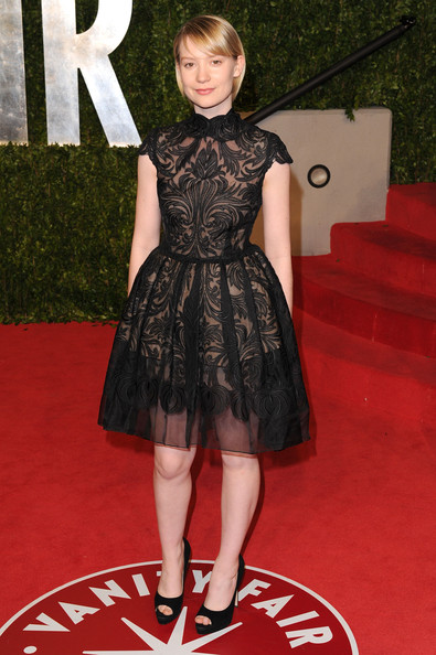 Actress Mia Wasikowska arrives at the Vanity Fair Oscar party hosted by Graydon Carter held at Sunset Tower on February 27, 2011 in West Hollywood, California.