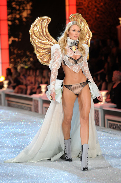 Model Candice Swanepoel walks the runway during the 2011 Victoria's Secret Fashion Show at the Lexington Avenue Armory on November 9, 2011 in New York City.