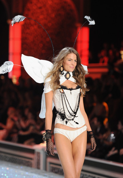 Model Cameron Russell walks the runway during the 2011 Victoria's Secret Fashion Show at the Lexington Avenue Armory on November 9, 2011 in New York City.