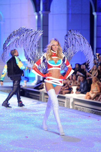 Model Erin Heatherton walks the runway during the 2011 Victoria's Secret Fashion Show at the Lexington Avenue Armory on November 9, 2011 in New York City.