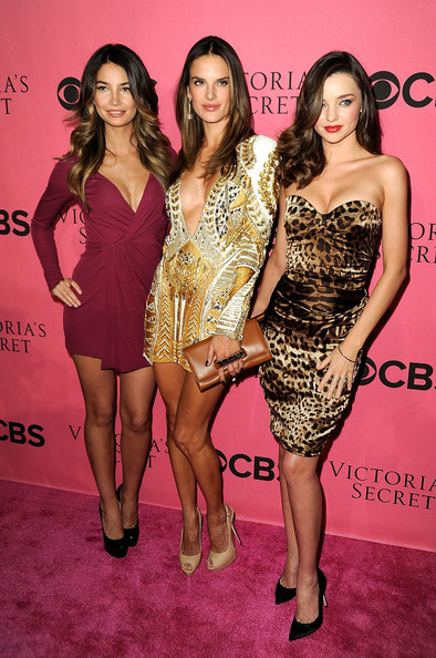 Models Lily Aldridge, Alessandra Ambrosio and Miranda Kerr arrive at the 2011 Victoria's Secret Fashion Show Viewing Party at the Samueli Theater, Segerstrom Center for the Arts  on November 29, 2011 in Costa Mesa, California.