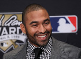 Matt Kemp of the Los Angeles Dodgers speaks to the media as the National League recipient of the 2011 Hank Aaron Award presented by MLB commissioner Bud Selig prior to Game Five of the MLB World Series between the St. Louis Cardinals and the Texas Rangers at Rangers Ballpark in Arlington on October 24, 2011 in Arlington, Texas.
