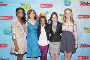 (L-R) Actresses Coco Jones, Debby Ryan, China Anne McClain, Laura Marano and Bridgit Mendler attend the 2012-13 Disney Channel Worldwide Kids Upfront at the Hard Rock Cafe - Times Square on March 13, 2012 in New York City.
