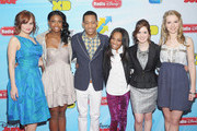 (L-R) Actors Debby Ryan, Coco Jones, Tyler James Williams, China Anne McClain, Laura Marano and Bridgit Mendler attend the 2012-13 Disney Channel Worldwide Kids Upfront at the Hard Rock Cafe - Times Square on March 13, 2012 in New York City.
