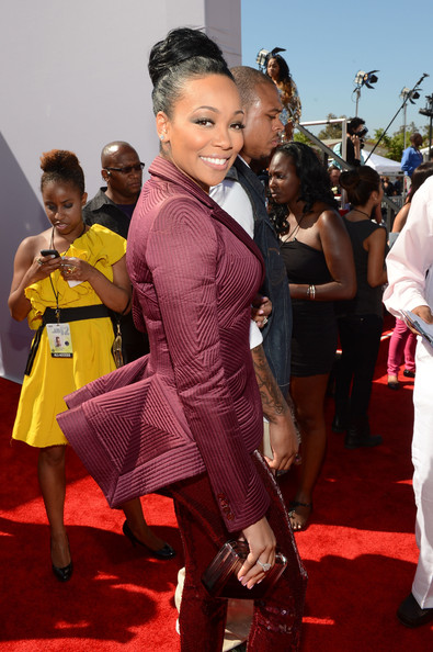 Singer Monica arrives at the 2012 BET Awards at The Shrine Auditorium on July 1, 2012 in Los Angeles, California.