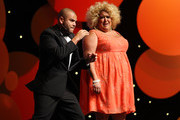 Luke Carroll and Casey Donovan perform hosting duties at the 2012 Deadly Awards at the Sydney Opera House on September 25, 2012 in Sydney, Australia.