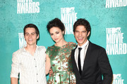(L-R) Actors Dylan O'Brien, Crystal Reed and Tyler Posey pose in the press room during the 2012 MTV Movie Awards held at Gibson Amphitheatre on June 3, 2012 in Universal City, California.