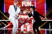 Singer Nate Ruess of Fun (L) and singer Janelle Monae perform at rehearsals for the 2012 MTV Movie Awards on June 1, 2012 in Universal City, California.