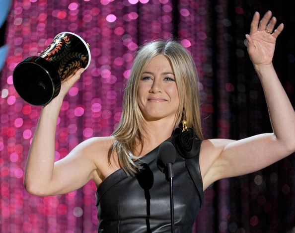 Actress Jennifer Aniston accepts the Best On-Screen Dirtbag award onstage during the 2012 MTV Movie Awards held at Gibson Amphitheatre on June 3, 2012 in Universal City, California.