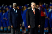 Lamine Diack, President of the IAAF (L) and Jacques Rogge, President of the International Olympic Committeeenter the stadium during the Closing Ceremony on Day 16 of the London 2012 Olympic Games at Olympic Stadium on August 12, 2012 in London, England.