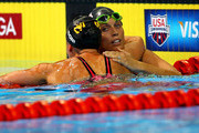 Amanda Beard (R) hugs Rebecca Soni after they competes in the second semifinal heat of the Women's 200 m Breaststroke during Day Five of the 2012 U.S. Olympic Swimming Team Trials at CenturyLink Center on June 29, 2012 in Omaha, Nebraska.