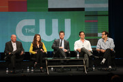 "Executive producer Marc Guggenheim, actors Katie Cassidy, Stephen Amell, executive producers Greg Berlanti, and Andrew Kreisberg speak at the ""Arrow"" discussion panel during the CW portion of the 2012 Summer Television Critics Association tour at the Beverly Hilton Hotel on July 30, 2012 in Los Angeles, California."