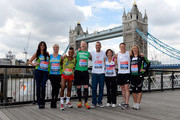 (L-R) Cara Kilbey, Billi Mucklow, Louis Mariette, Iwan Thomas, Calum Best, Amanda Mealing, Danny Crates and Sophie Raworth meet the press ahead of the 2012 Virgin London Marathon at The Tower Hotel on April 20, 2012 in London, England.