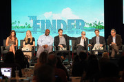 Actresses Mercedes Masohn, Maddie Hasson, Michael Clarke Duncan, Geoff Stults, executive producers Dan Sackheim, Barry Josephson, and Vahan Moosekian speak onstage during the 'The Finder' panel during the FOX Broadcasting Company portion of the 2012 Winter TCA Tour at The Langham Huntington Hotel and Spa on January 8, 2012 in Pasadena, California.