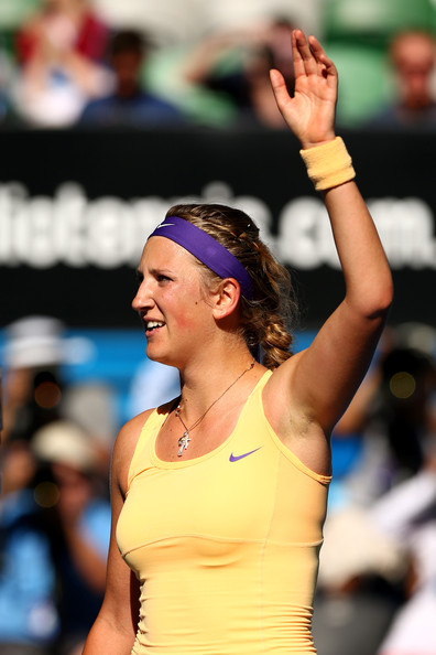 Victoria Azarenka of Belarus celebrates winning her Semifinal match against Sloane Stephens of the United States during day eleven of the 2013 Australian Open at Melbourne Park on January 24, 2013 in Melbourne, Australia.