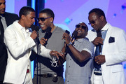 (L-R) Actors Boris Kodjoe, Nick Cannon, Nelly, Kevin Hart, and recording artist Bobby Brown speak onstage during the 2013 BET Awards at Nokia Theatre L.A. Live on June 30, 2013 in Los Angeles, California.
