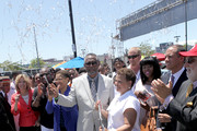 (L-R)  Los Angeles City Controller Wendy Greuel, Congresswoman Karen Bass, City Councilmember Curren Price, Chairman and CEO of BET, Debra L. Lee, Compton Mayor Aja Brown, Chief Legal and Development Officer at AEG,  Ted Fikre, and LA Sentinel owner Danny Bakewell attend the Fan Fest Outdoor during the 2013 BET Experience at L.A. LIVE on June 28, 2013 in Los Angeles, California.