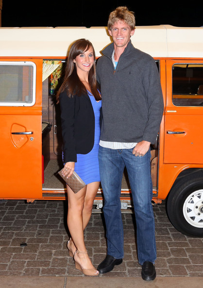 Kevin Anderson of South Africa and guest arrive for a player's party at the IW Club on March 7, 2013 in Indian Wells, California.