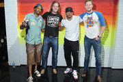 (L-R) Artist Troy Duff poses with singers Tyler Hubbard, Nelly and Brian Kelley backstage during the 2013 CMT Music Awards Rehearsals Day 1 at Bridgestone Arena on June 3, 2013 in Nashville, Tennessee.