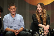 "Actors Michael Socha (L) and Sophie Lowe speak onstage during the ""Once Upon a Time in Wonderland"" panel discussion at the Disney/ABC Television Group portion of the Television Critics Association Summer Press Tour at the Beverly Hilton Hotel on August 4, 2013 in Beverly Hills, California."