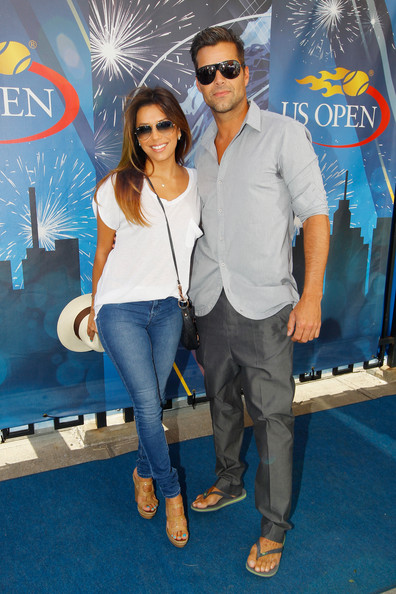 Actress Eva Longoria and musician Ricky Martin attend Day Fourteen of the 2013 US Open at the USTA Billie Jean King National Tennis Center on September 8, 2013 in New York City.