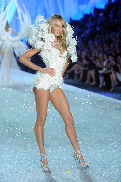 Model Candice Swanepoel walks the runway at the 2013 Victoria's Secret Fashion Show at Lexington Avenue Armory on November 13, 2013 in New York City.