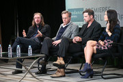 """(L-R) Creator, Director, Writer Ray McKinnon, Executive Producer Mark Johnson, actors Aden Young, and Abigail Spencer speak onstage at the """"Rectify"""" panel discussion during the Sundance Channel portion of the 2013 Winter TCA Tour- Day 2 at Langham Hotel on January 5, 2013 in Pasadena, California."""