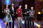 (L-R) The Cast of Teen Wolf, Crystal Reed, Tyler Hoechlin, Tyler Posey, Dylan O'Brien, and Holland Roden receive the Best Ensemble Award on stage at the CW Network's 2013 Young Hollywood Awards presented by Crest 3D White and SodaStream held at The Broad Stage on August 1, 2013 in Santa Monica, California.