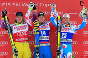(L-R) Kjetil Jansrud of Norway in second place, Hannes Reichelt of Austria in first place and Alexis Pinturault of France take the podium for the Audi FIS World Cup Men's Super G Race on the Birds of Prey course on December 6, 2014 in Beaver Creek, Colorado.