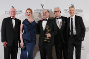 Emmy Founders Award recipient Matthew Weiner (C) poses with his award and presenters (L-R) Bruce Paisner, Christina Hendricks,  John Slattery and Kevin Beggs at the 2014  International  Academy Of Television Arts & Sciences Emmy Awards at New York Hilton on November 24, 2014 in New York City.