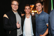 (L-R) Actors Seth Rogen, Dave Franco and Zac Efron attend the 2014 MTV Movie Awards at Nokia Theatre L.A. Live on April 13, 2014 in Los Angeles, California.