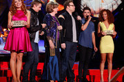 (L-R) Actors Peyton McCormick, Dave Franco, Sandra Daubert, Seth Rogen, Zac Efron and Tiffany Luce speak onstage at the 2014 MTV Movie Awards at Nokia Theatre L.A. Live on April 13, 2014 in Los Angeles, California.