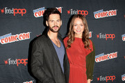 "Tom Riley and Laura Haddock in the Press Room for ""Da Vinci's Demons"" at 2014 New York Comic Con - Day 3 at Jacob Javitz Center on October 11, 2014 in New York City."