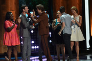 (L-R) Actors Danielle Brooks, Pablo Schreiber, Ansel Elgort, Dascha Polanco, Nat Wolff and Alysia Reiner speak onstage at the 2014 Young Hollywood Awards brought to you by Samsung Galaxy at The Wiltern on July 27, 2014 in Los Angeles, California. The Young Hollywood Awards will air on Monday, July 28 8/7c on The CW.