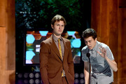 Actors Ansel Elgort and Nat Wolff (R) speak onstage at the 2014 Young Hollywood Awards brought to you by Samsung Galaxy at The Wiltern on July 27, 2014 in Los Angeles, California. The Young Hollywood Awards will air on Monday, July 28 8/7c on The CW.