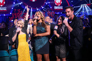 (L-R) Actors Taryn Manning, Laverne Cox, Dascha Polanco, and Pablo Schreiber speak at the 2014 iHeartRadio Music Festival at the MGM Grand Garden Arena on September 20, 2014 in Las Vegas, Nevada.