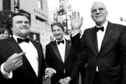 Image has been shot in black and white.) (L-R) Actors Jack Black, Martin Short and honoree Steve Martin attend the 2015 AFI Life Achievement Award Gala Tribute Honoring Steve Martin at the Dolby Theatre on June 4, 2015 in Hollywood, California. 25292_006